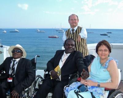 Avec Staff Benda Bilili sur le toit du Palais Stéphanie à Cannes